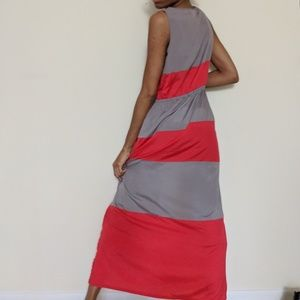 Pink Rose Coral and Grey Maxi Dress Large